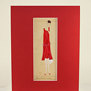 "Fabulous Art Deco original French mixed media fashion drawing, ""le velours rouge"""
