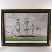 Original watercolor of 18th Century Sailing Ship