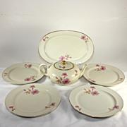 Wonderful Furstenberg Germany teapot and dish set, pink roses