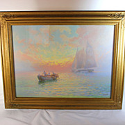 """Maritime Seascape painting titled """"Morning"""" by American Artist Victor Casenelli (1867-1962"""