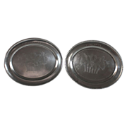 Pair of antique 1804 German pewter wedding plates, dated