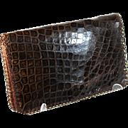 SOLD Vintage French brown alligator fold over clutch, evening bag, pocket book