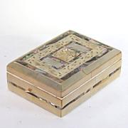 Vintage carved abalone & mother of pearl trinket/dresser box