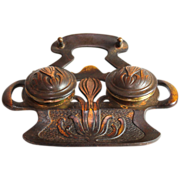 Art Nouveau metal inkwell with crocuses, geschutzt
