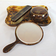 Vintage butterscotch celluloid vanity set, monogram