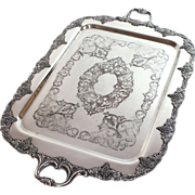 Large antique silver plate charger, serving tray with grape motif
