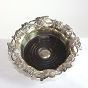 Large wood and silver plate wine coaster, grape decoration