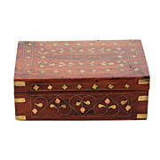 Vintage, copper and brass inlaid wood wooden cigarettes box
