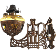 Antique Art Nouveau wall mounted oil lamp butterscotch glass
