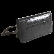 Vintage dark brown alligator shoulder bag, purse