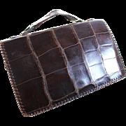Genuine Vintage Dark Brown Alligator Evening Purse