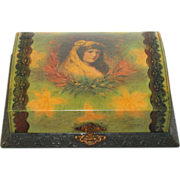 Antique Victorian Celluloid Vanity Dresser Toilet Case Box with set