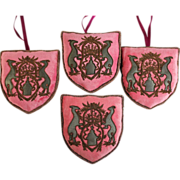 Four Pink Custom Designed Christmas Ornaments used in Printemps Department Store