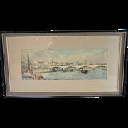 Water Color Painting of Waterloo Bridge by Frank C. Belcher