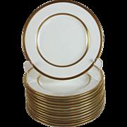 Antique Mintons Davis Collamore & Co Gold Band Porcelain Bread Plates Set of 12 plus one