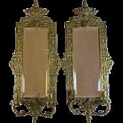 Pair of Antique Bronze Mirror Sconces with Fish Decoration