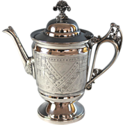 Antique Aesthetic Period Silver Alloy Coffee Pot