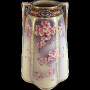 Nippon Hand Painted Moriage Porcelain Vase, Blue Mark