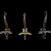 SOLD Set of Three Art Deco Bronze Coat/Hat Hooks