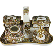 Nippon Hand Painted Porcelain Moriage Vanity Set- Six Pieces