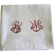 Pair of antique Monogrammed French Napkins, Lapkins B M