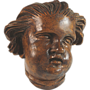 Antique French Wood Wooden Sculpture of a Putti Head, 18th C