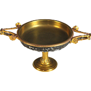 Antique French gilded Bronze and silver Dish, Barbedienne signed Henry Cahieux