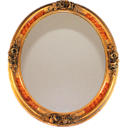Vintage French Mirror with Faux Burl Wood Frame with Gesso Flowers