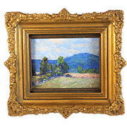 Impressionistic Miniature Landscape Oil Painting signed E.Walker circa  1929
