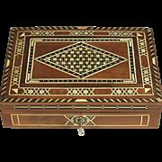 Vintage Indo-Anglican Sadeli inlaid Dresser Box with Key