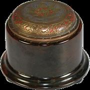 Antique Round Bakelite Box with Engraved Brass Lid