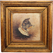 Antique 19c Oil on Panel  Portrait of a Border Collie