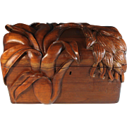 Massive Hand Carved Wood Document Box
