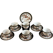 Set of Six Betson's Dragonware Moriage Teacups and Saucers Tea Cups