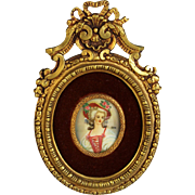 Antique French Hand Painted Miniature Portrait Gilt Bronze Frame Lady w Red Hat