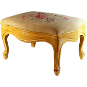 Carved Foot Stool with Cream Needlepoint Top, Footstool