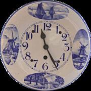 Vintage 8 Day Enamelware Granite ware Dutch Wall Clock, Serviced