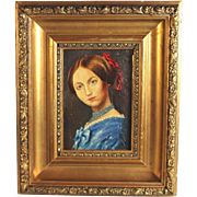 Portrait of a French Lady 19th Century Oil on Panel