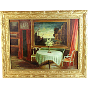 Oil on canvas Painting of an Interior Setting signed