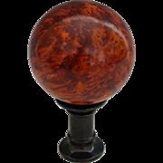 Vintage Amboyna Burl Desk Ornament Ball on Pedestal