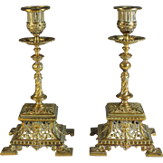 SOLD Impressive Pair of Square Brass Candelabra Candle Sticks