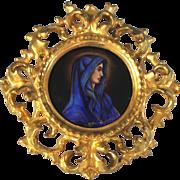 Limoges Kiln Fired Enamel on Copper Miniature Portrait of a Lady in Blue