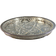 Vintage Silver Plate Lazy Susan with Glass Insert, Silverplate Tray