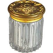Stunning Cut Glass and Gold Metal Dresser Jar