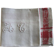 "SOLD 12 Antique French Linen Monogrammed Napkins A C, w Monogrammed Tablecloth 60"" x 88"""