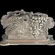 Vintage French Pewter Letter Napkin Holder, Grapes