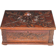 Large Antique Black Forest Keepsake Box with Roses