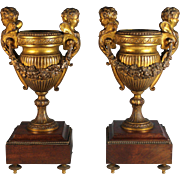 Pair of Antique French Gilded Bronze Urns with Wood Bases