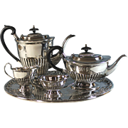 Vintage Sheffield Silverplate Tea Coffee Set with Tray Silver Plate