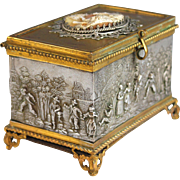 Antique French Cameo Gilded Bronze and Silverplate Respousse Box